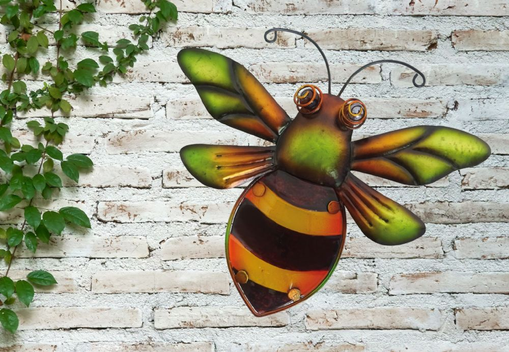 Bumblebee  Colourful Hand Painted Glass & Metal Garden Wall Art
